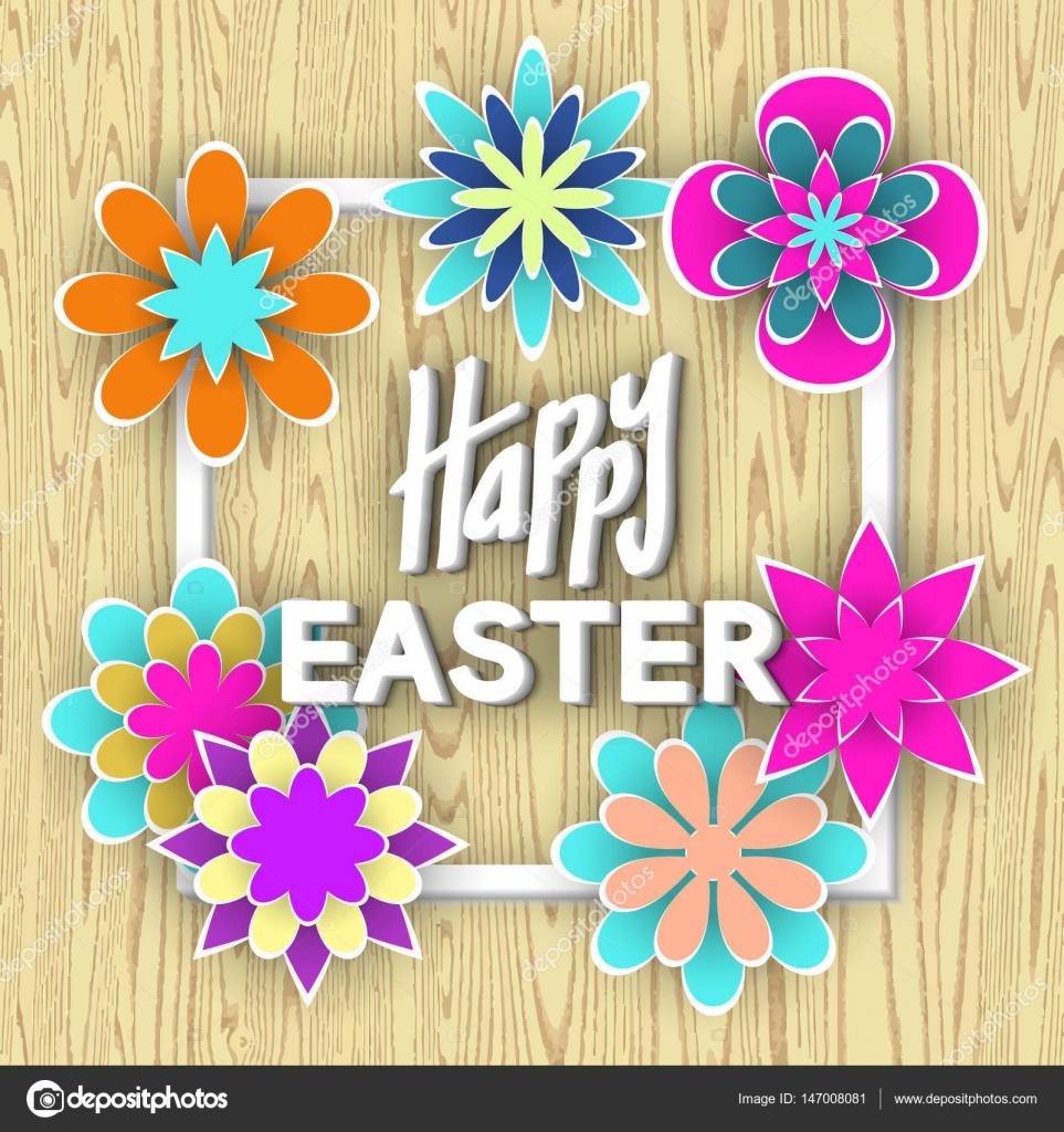 Happy Easter With Paper Flowers Stock Vector Ciklamen 147008081