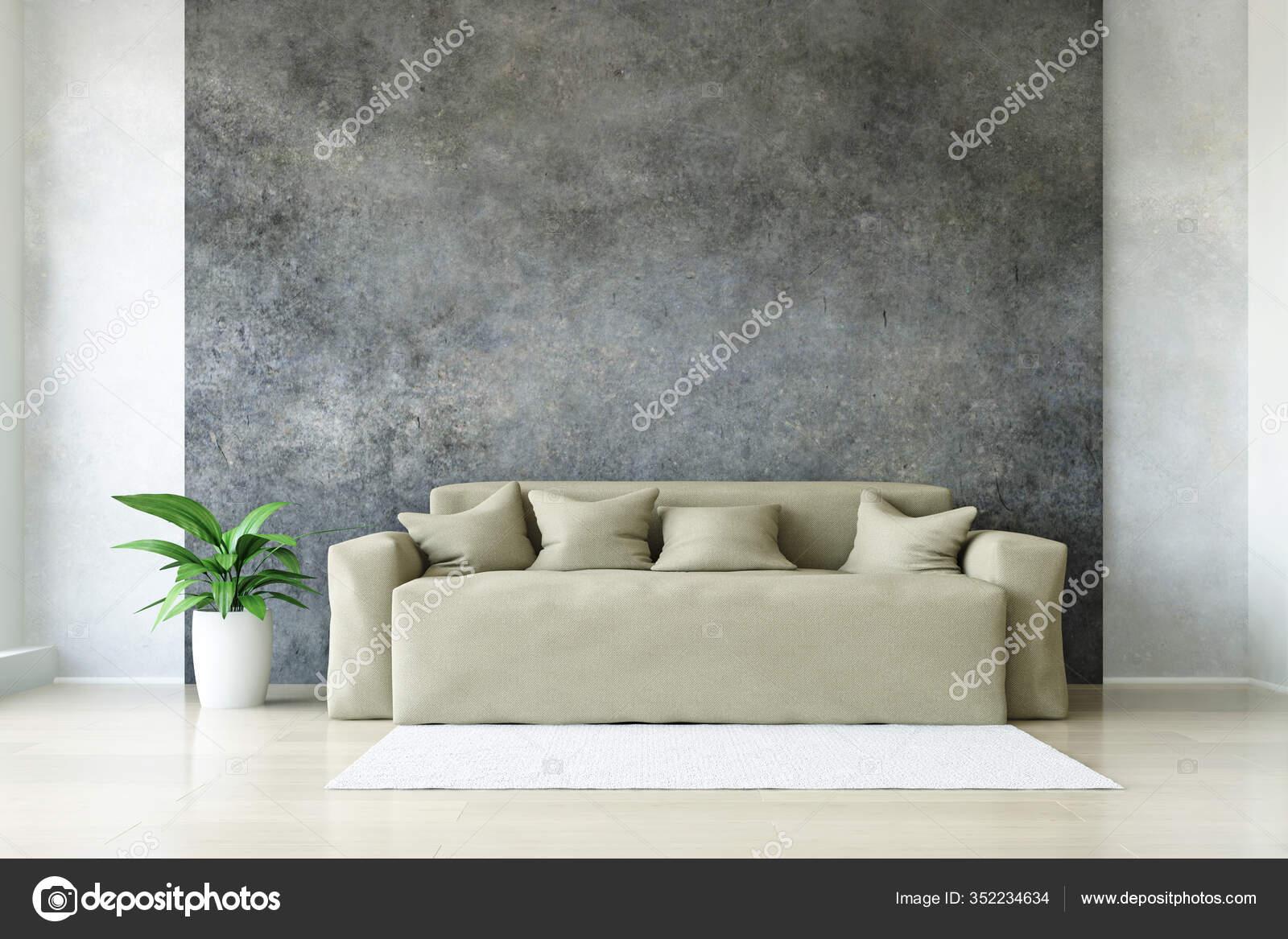Modern Beige Sofa Pillows Plant Stylish Dirty Concrete Wall White Stock Photo C Ciklamen 352234634