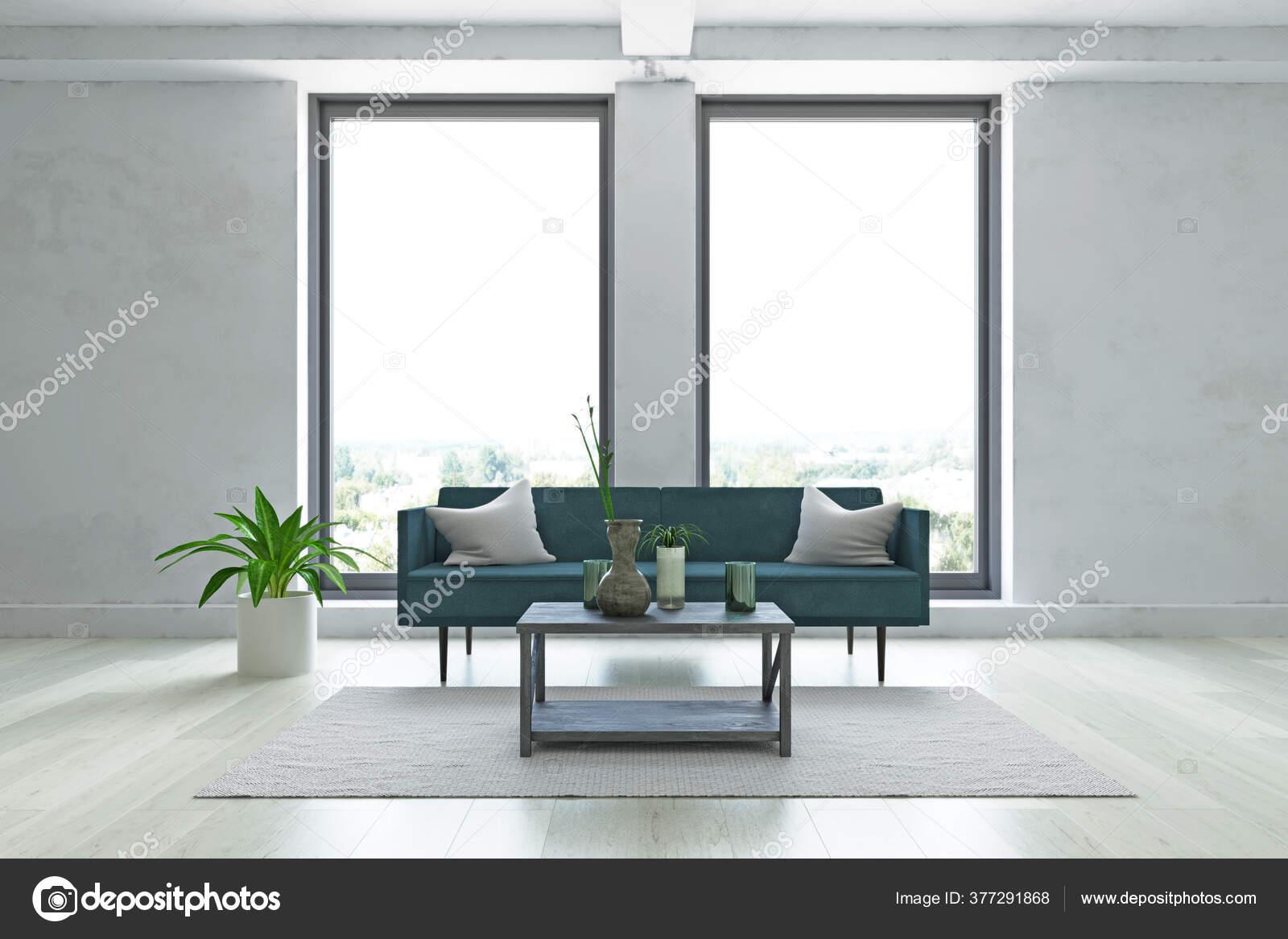 Contemporary Interior Minimalistic Room Elegant Sofa Wooden Table Beige Carpet Stock Photo C Ciklamen 377291868