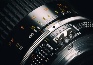 close up of old camera lens