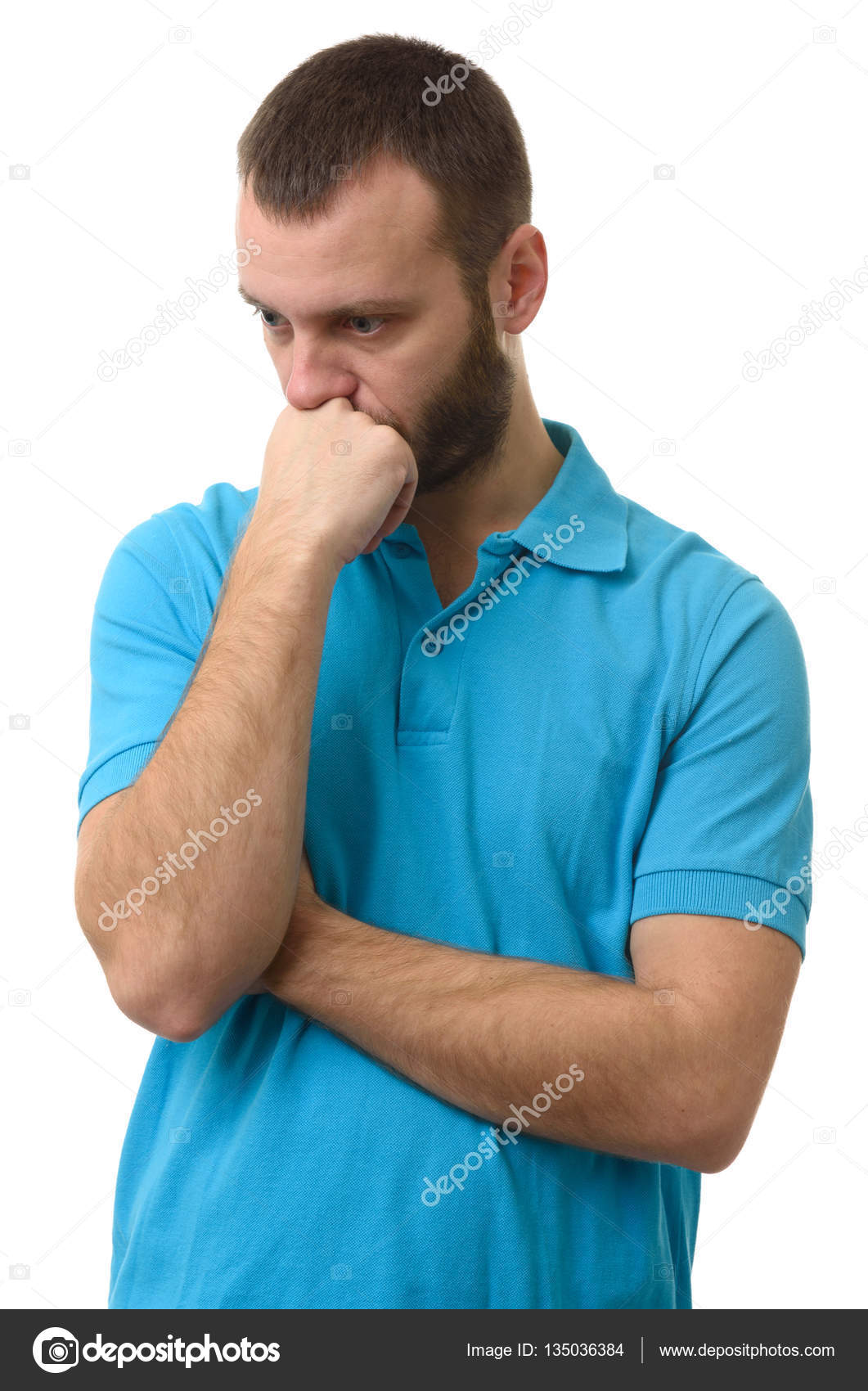 thinking guy. Sad man looking down. — Stock Photo ...