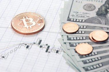 bitcoin coin with money