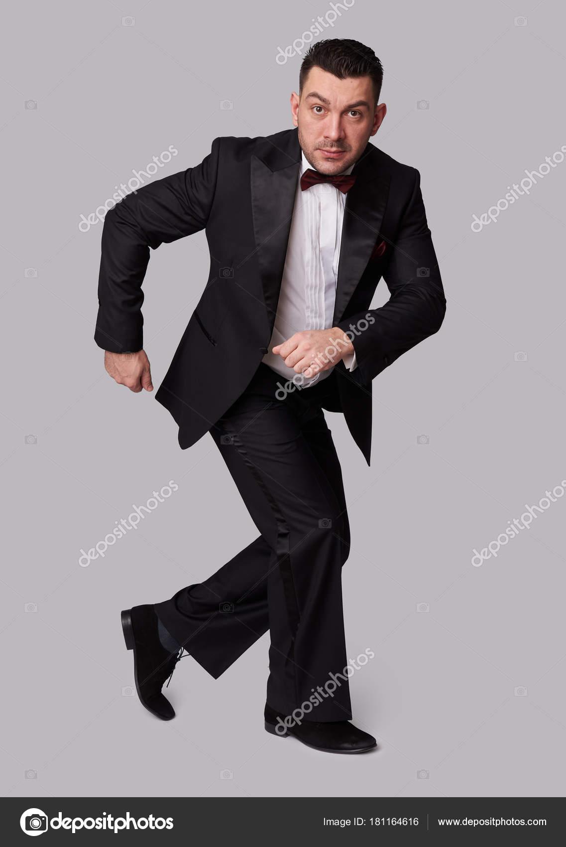 gracioso hombre elegante esmoquin negro — Foto de stock © spaxiax ... b8abe1d39f9