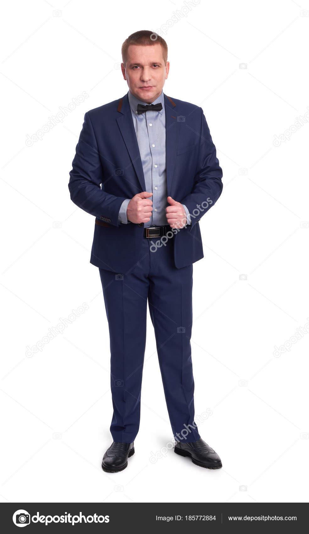 Retrato de cuerpo entero de un hombre elegante traje azul. Aislado en  blanco - imágenes  hombres cuerpo completo — Foto de spaxiax — Foto de  spaxiax 5074744238a