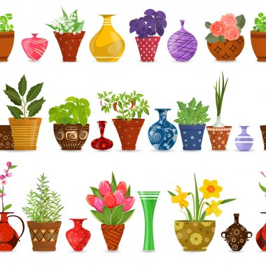 seamless vases and pots pattern