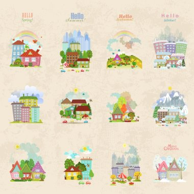 seasonal city or village icons
