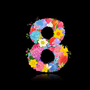 floral stylized colorful number