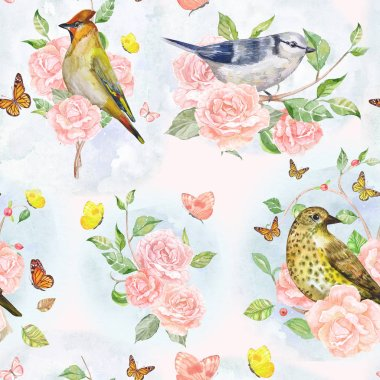 pink roses and birds