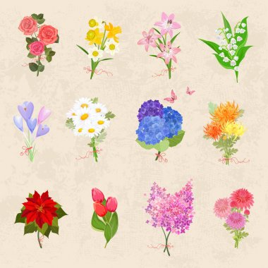 different bouquets of flowers