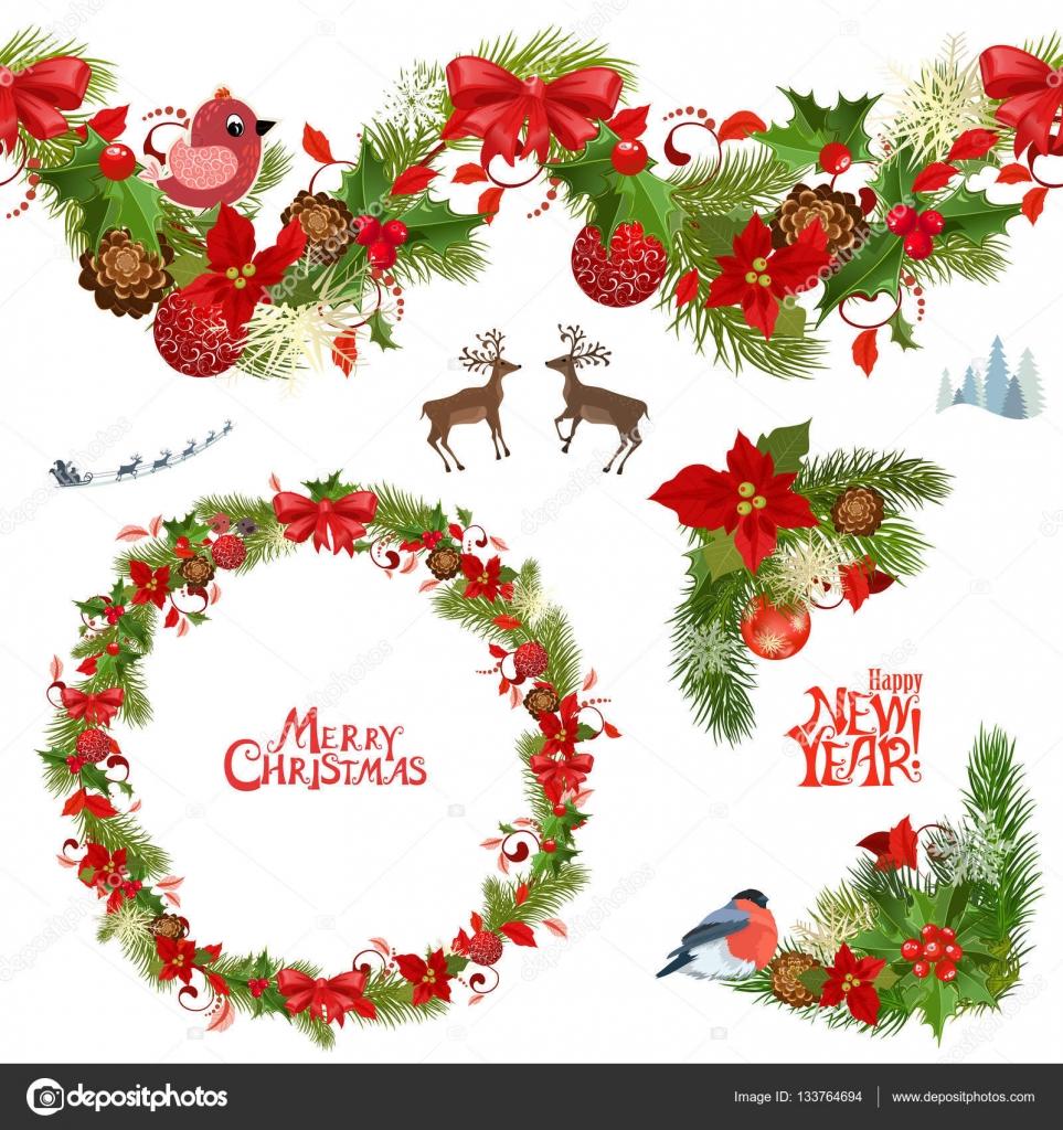 Coleccion De Navidad De Motivos Florales Vector De Stock C Oksana - Motivos-navidad