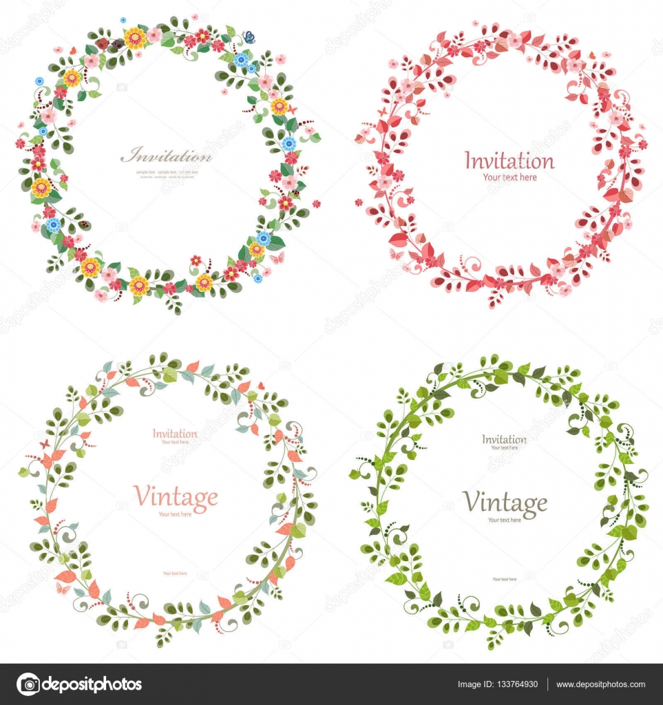 Of Wreaths Floral Collection Of Wreaths Stock Vector 133764930