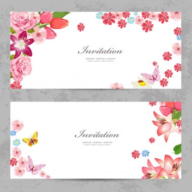 invitation cards with beautiful flowers