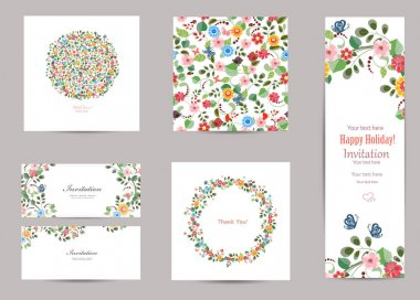 collection of floral greeting cards