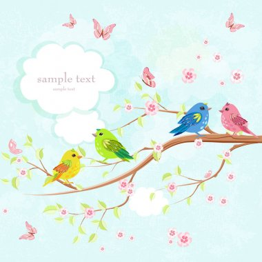 greeting card with enamored birds