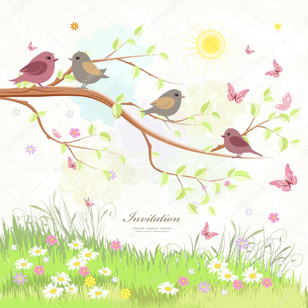 cute greeting card with birds