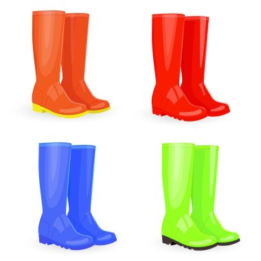 collection of rubber boots
