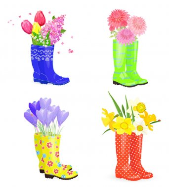 rubber boots with bouquets