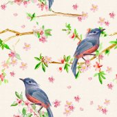 Photo texture with birds on flowering twigs.