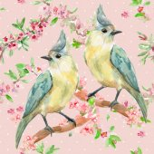 Photo lovely birds on flowering twigs.