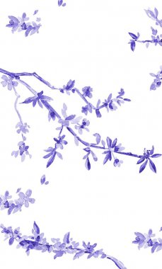 banner with almond blossom flowering twig.
