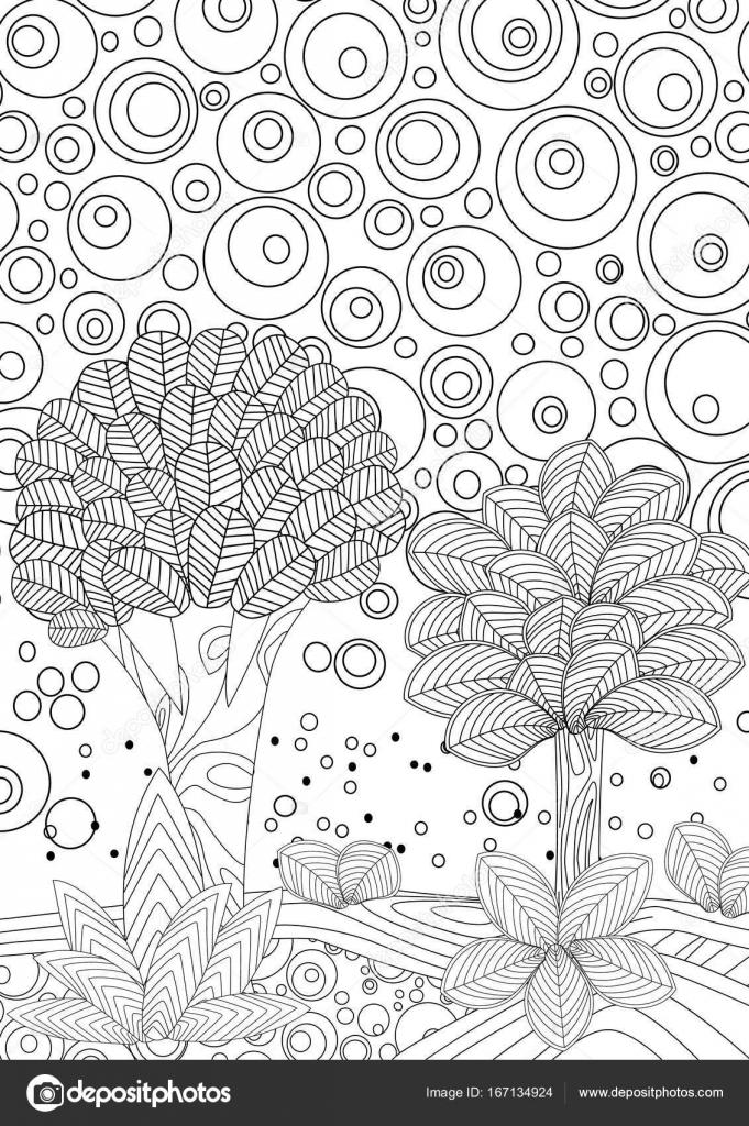 paisaje natural para colorear libro — Vector de stock © Oksana ...