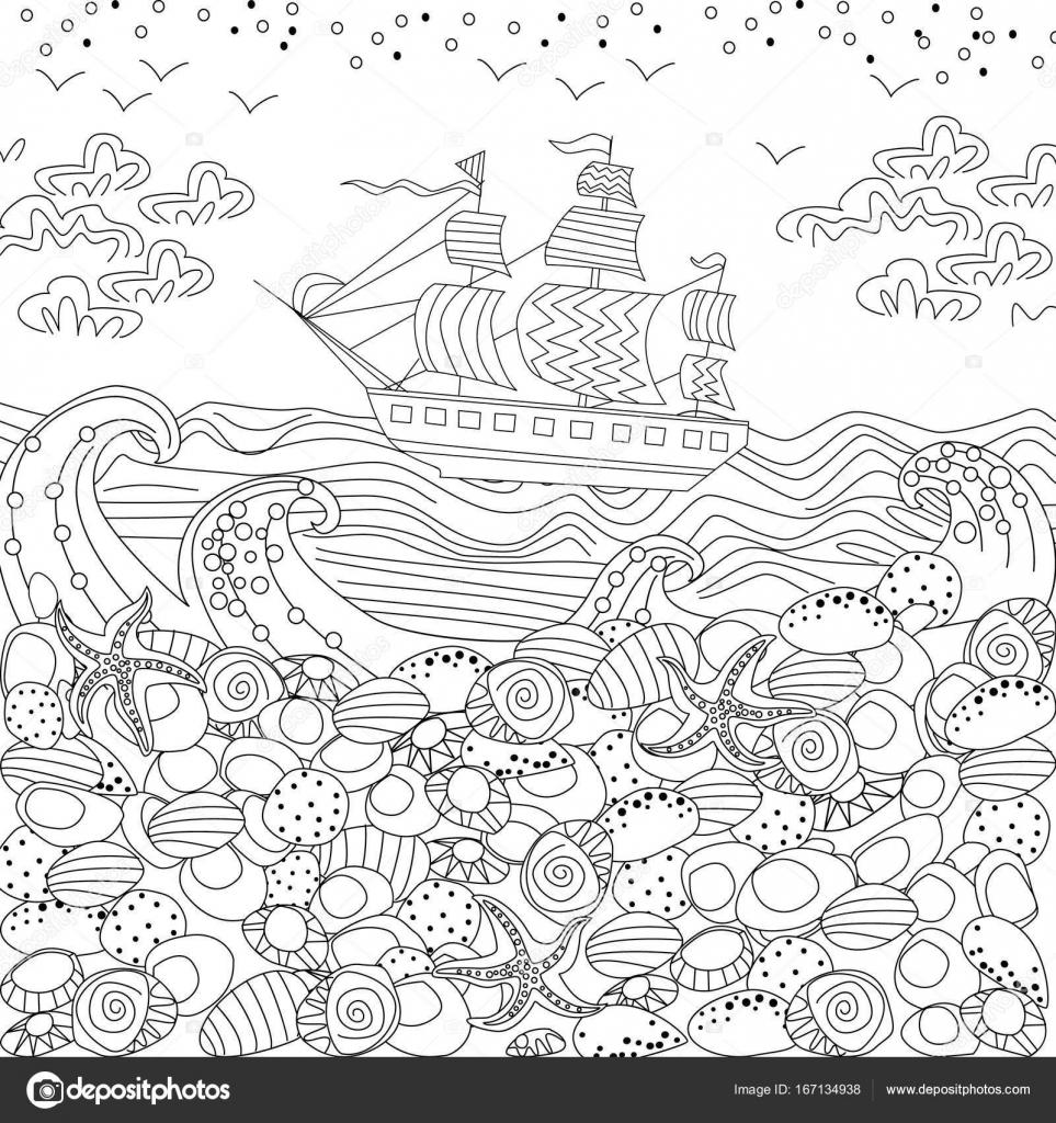 Vettore Di Paesaggi Da Dipingere Paesaggio Del Mare Per Libro Da