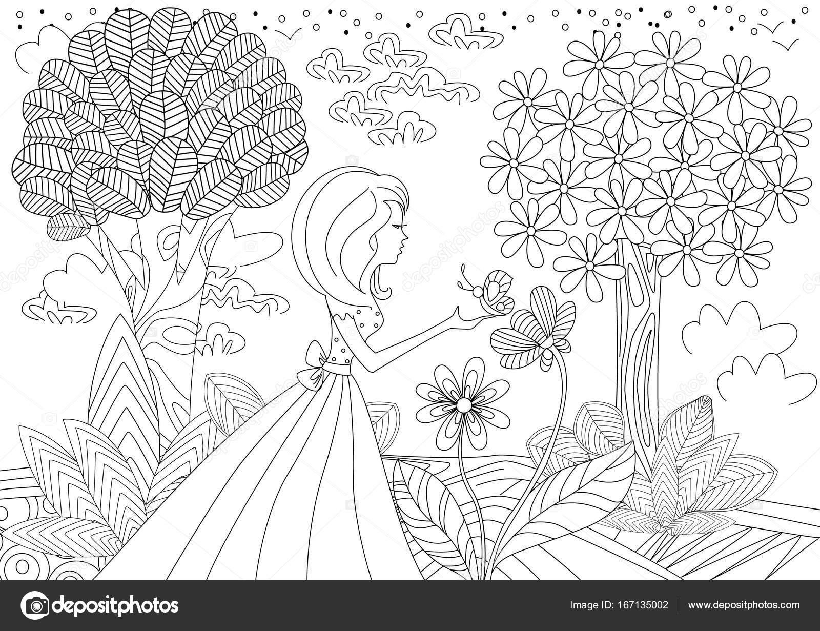 Mädchen mit Schmetterling für Malbuch — Stockvektor © Oksana #167135002