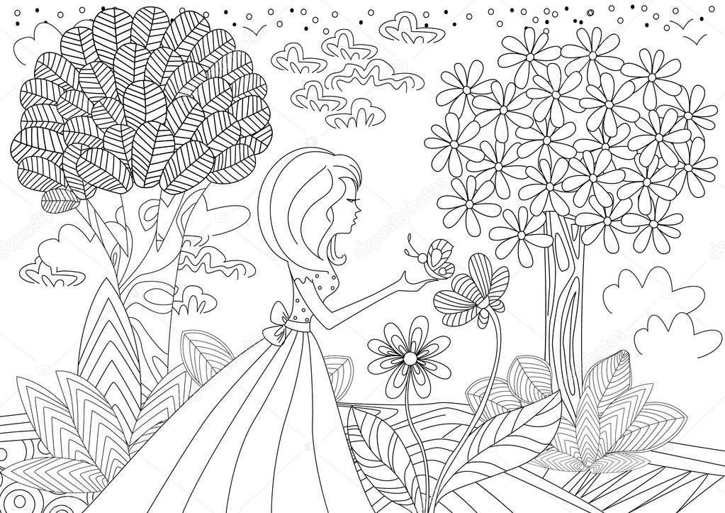 niña con mariposa para colorear libro — Archivo Imágenes Vectoriales ...