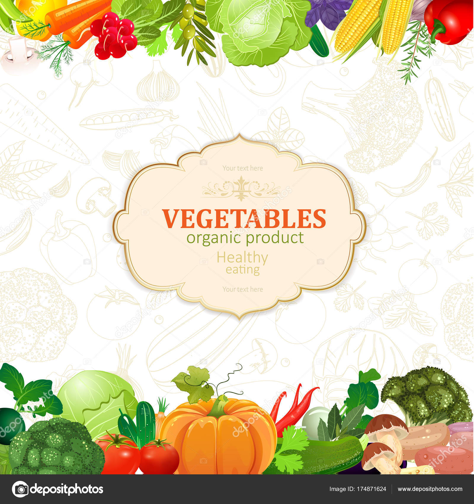 template card with border of vegetables stock vector oksana