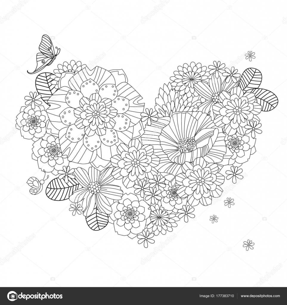 Boyama Kitabı Için Kelebekler Ile çiçek Kalp Stok Vektör Oksana