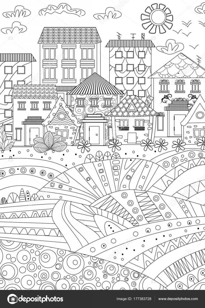 Cartoon Drawn Town Coloring Book Stock Vector C Oksana 177383728