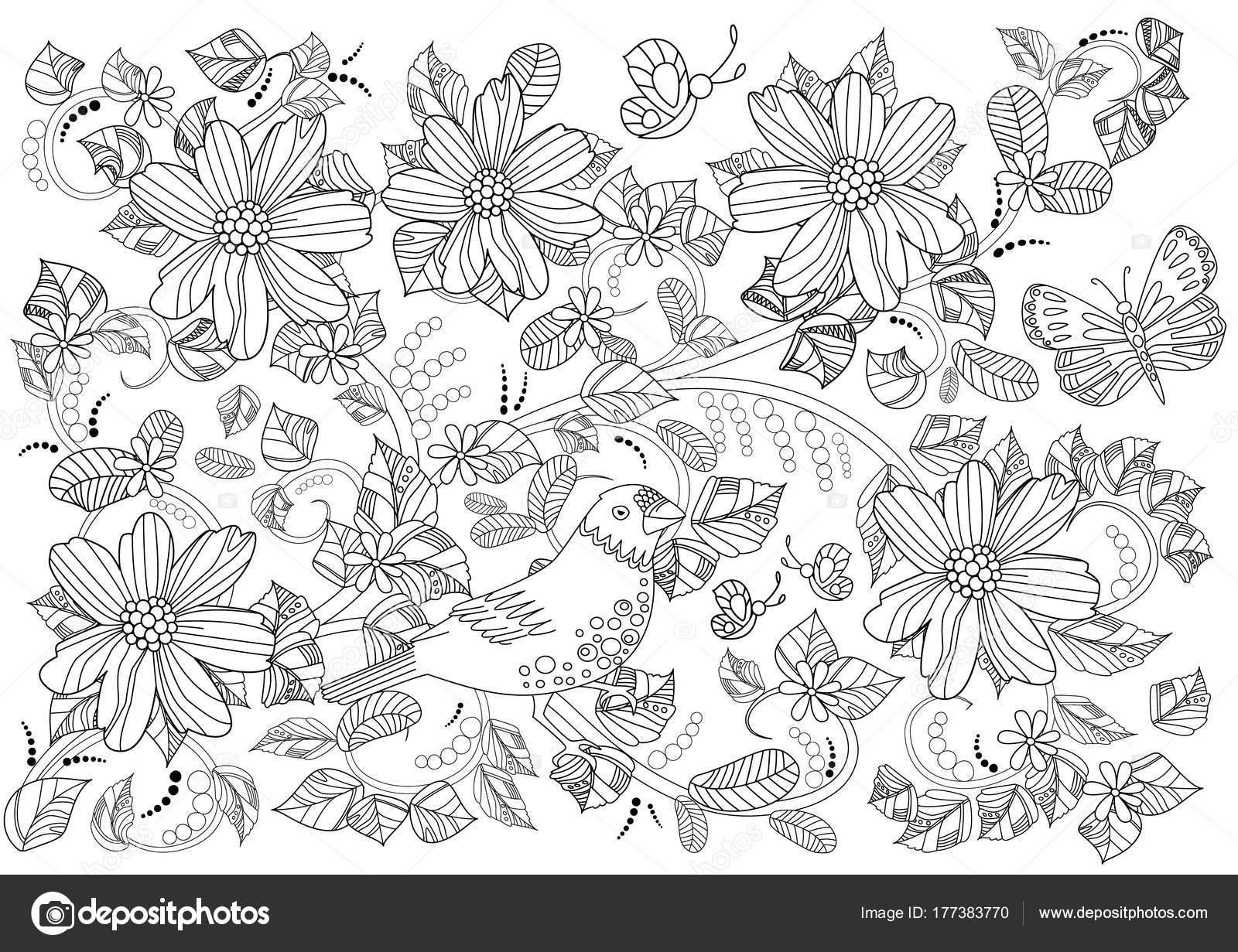 Adorno Con Flores Remolinos Flores Para Colorear Libro — Vector de ...