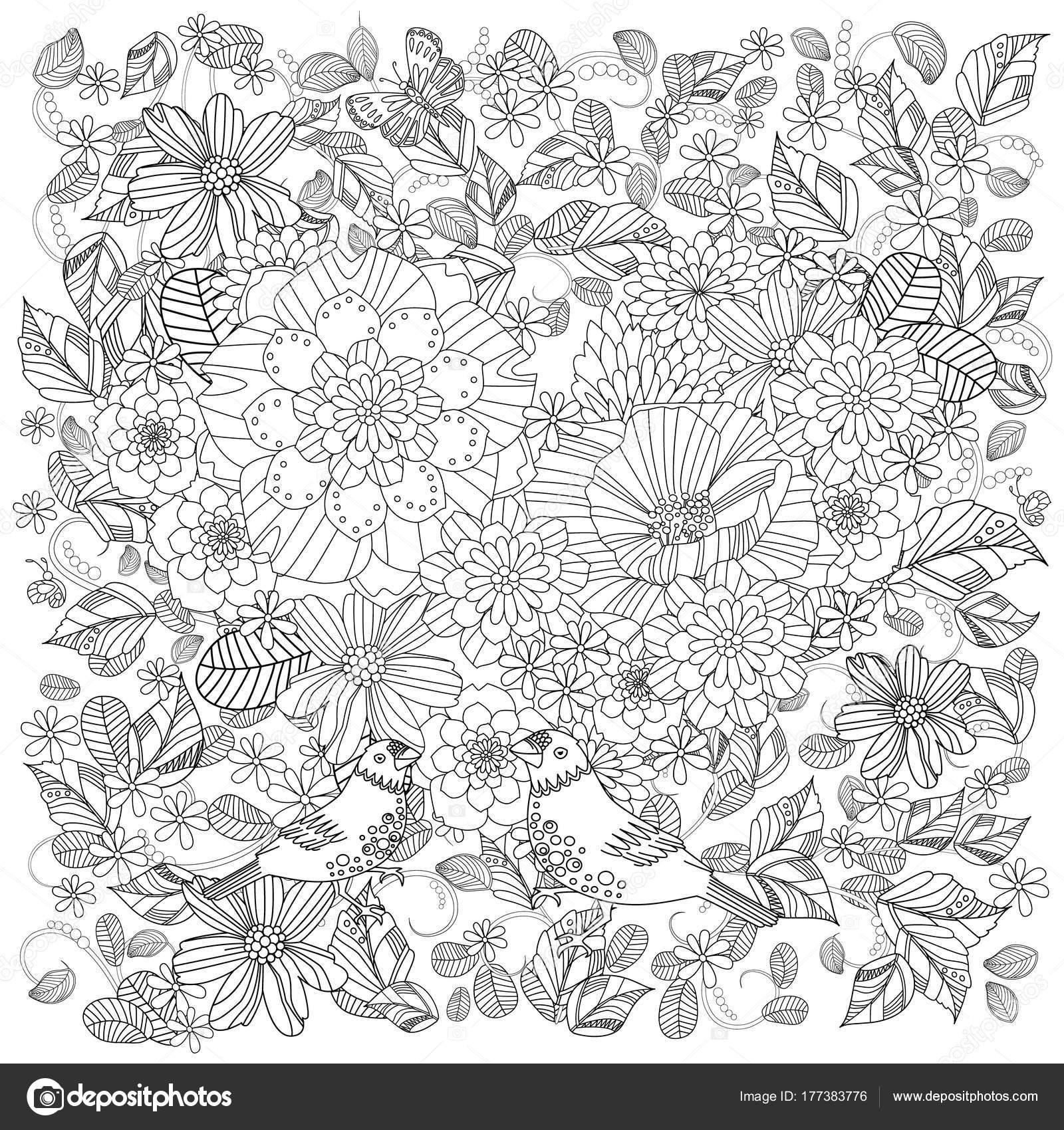 Jardín Flores Fantasia Con Pareja Aves Lindas Para Libro Colorear ...