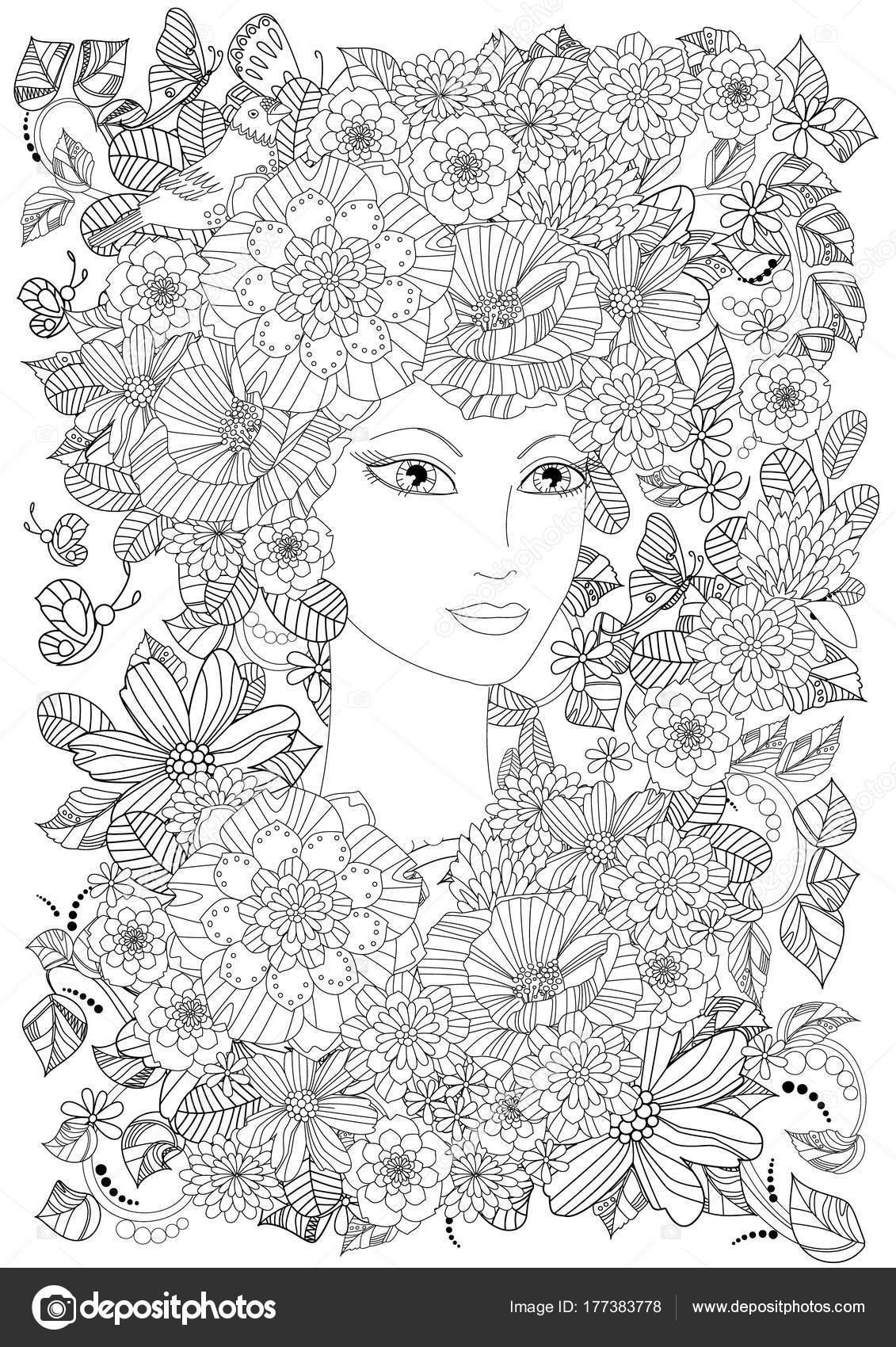 Mujer Verano Flores Mariposas Para Colorear Libro — Vector de stock ...