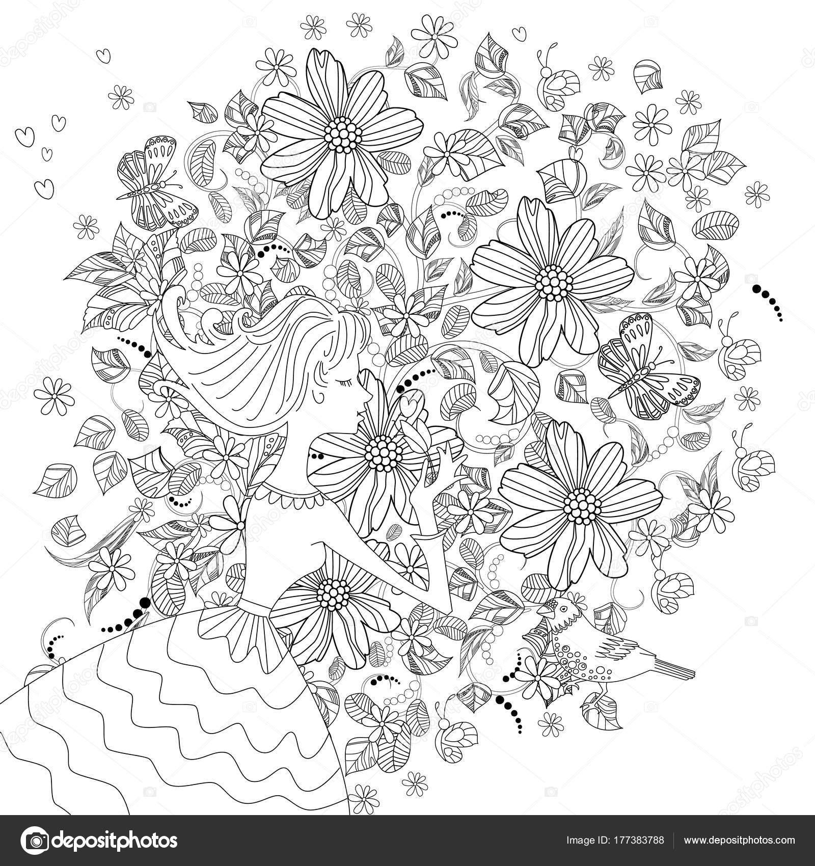 Niña Con Flores Para Colorear Libro — Vector de stock © Oksana ...