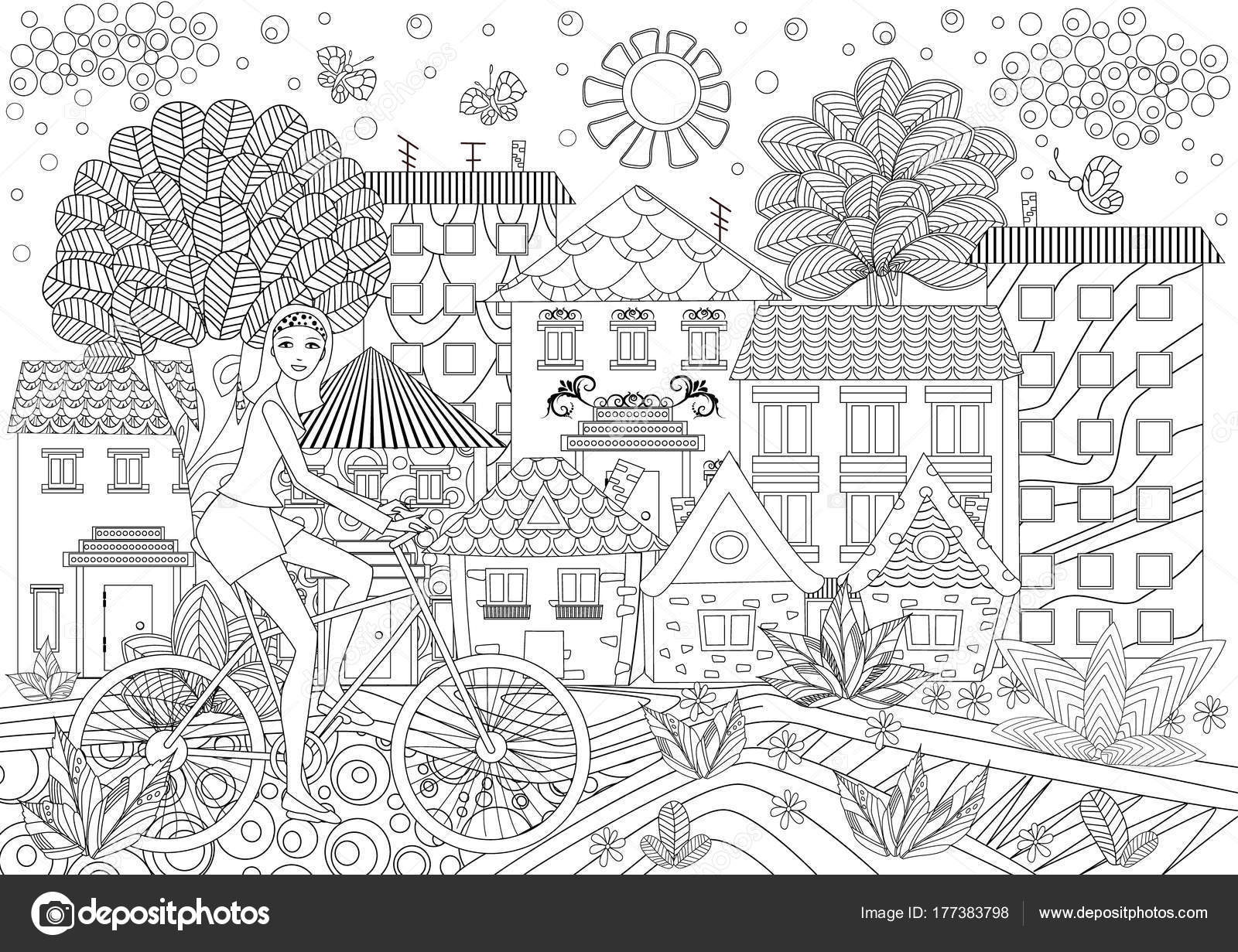 Young Girl Bike City Coloring Book Stock Vector C Oksana 177383798
