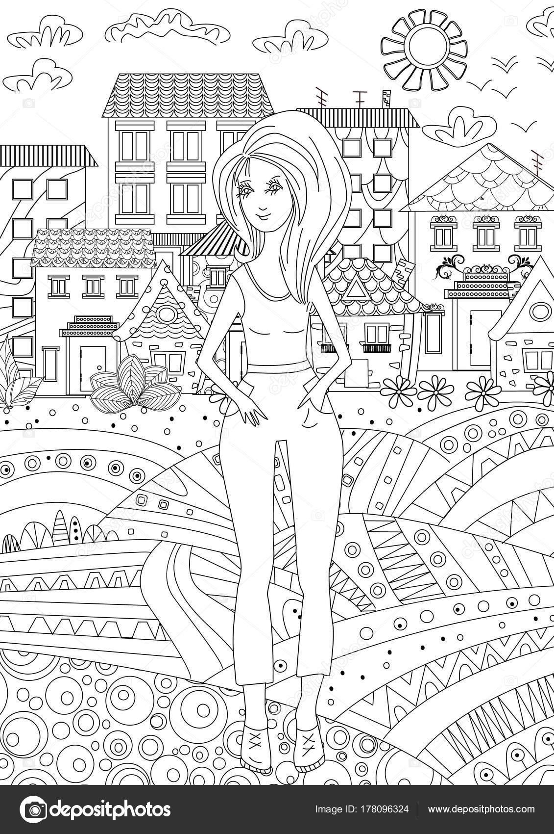 Boyama Kitabı Için şehirde Genç Kız Stok Vektör Oksana 178096324
