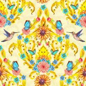 rich seamless texture with floral golden vignette and birds. watercolor painting