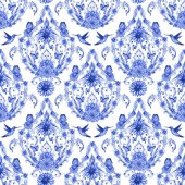 monochrome seamless texture with fancy arabesque and hummingbirds. watercolor painting