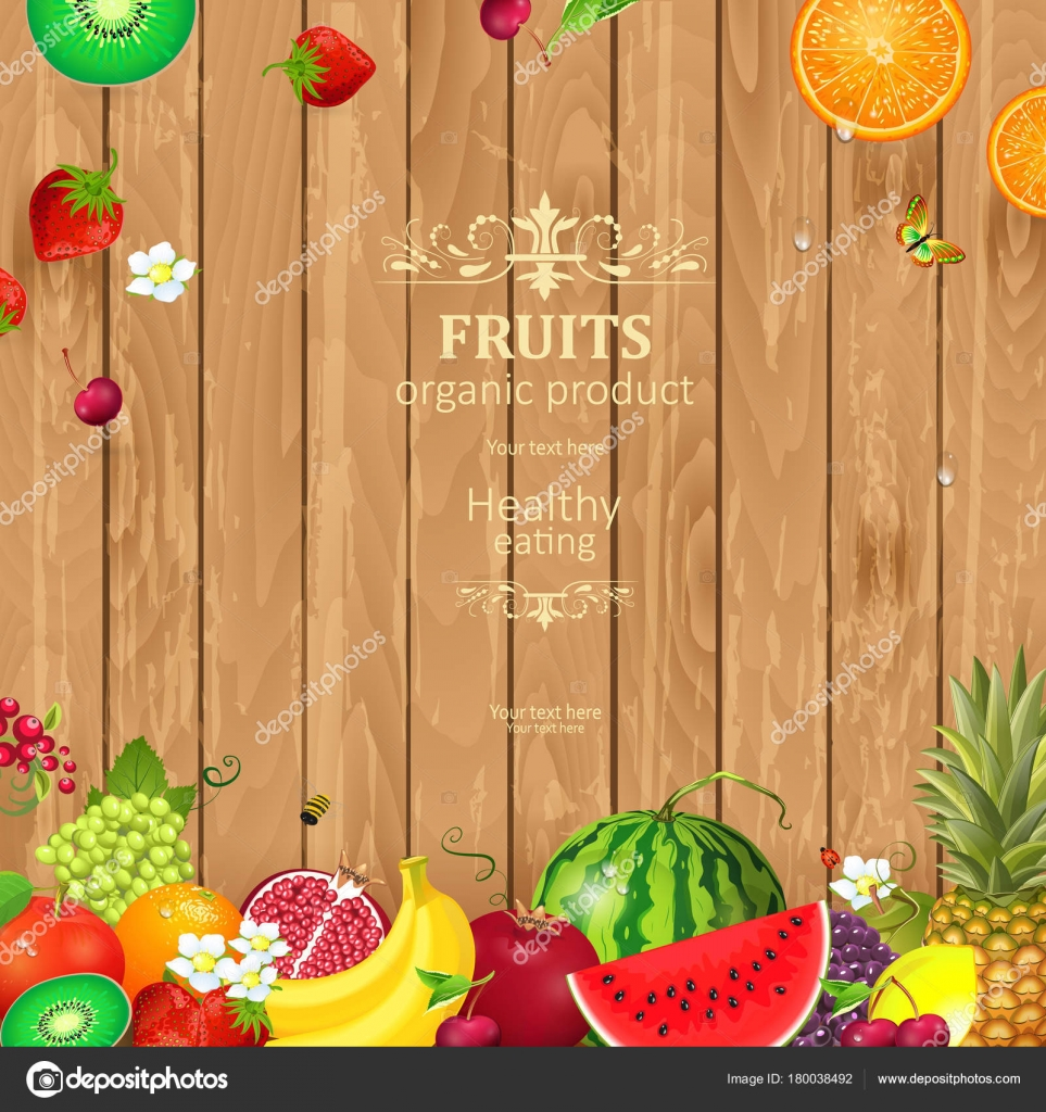 Rustic Banner With Delicious Fruits And Berries On Wooden Background Vector By Oksana