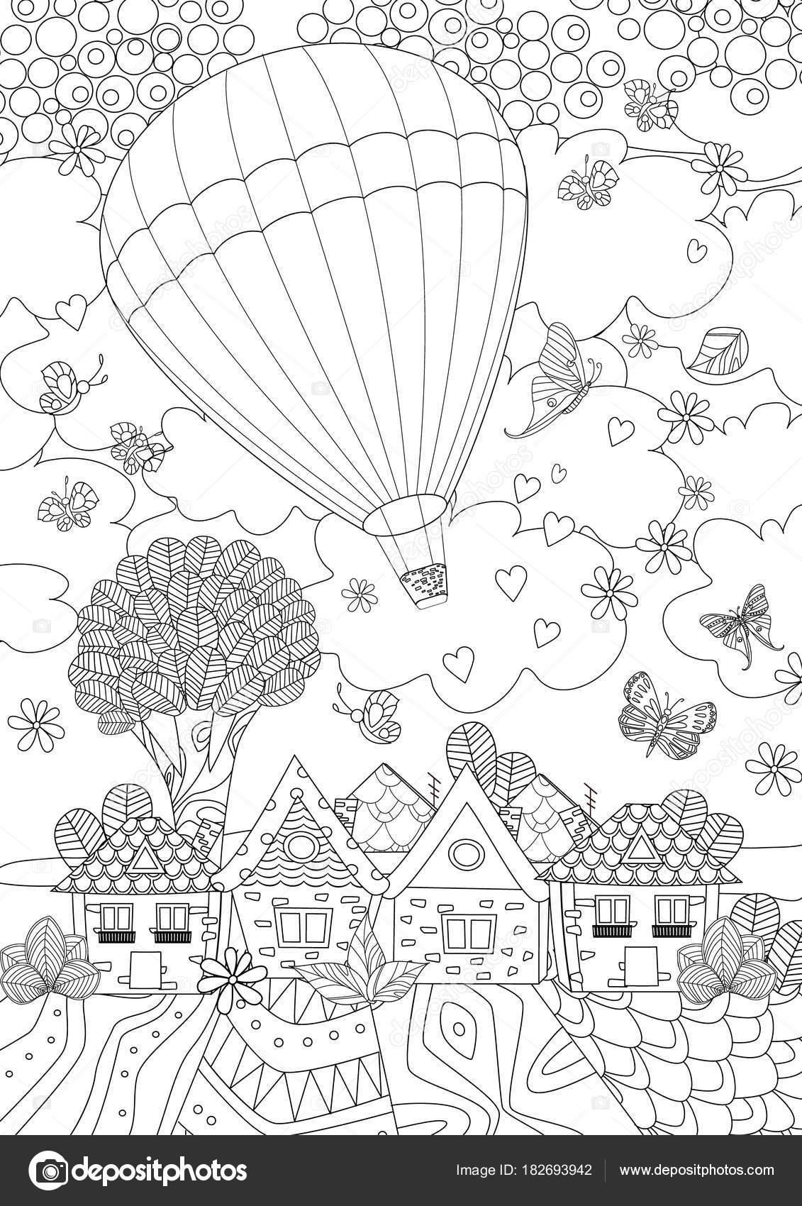 Sıcak Hava Balonu Boyama Kitabı Vektör çizim Için şehir üzerinde