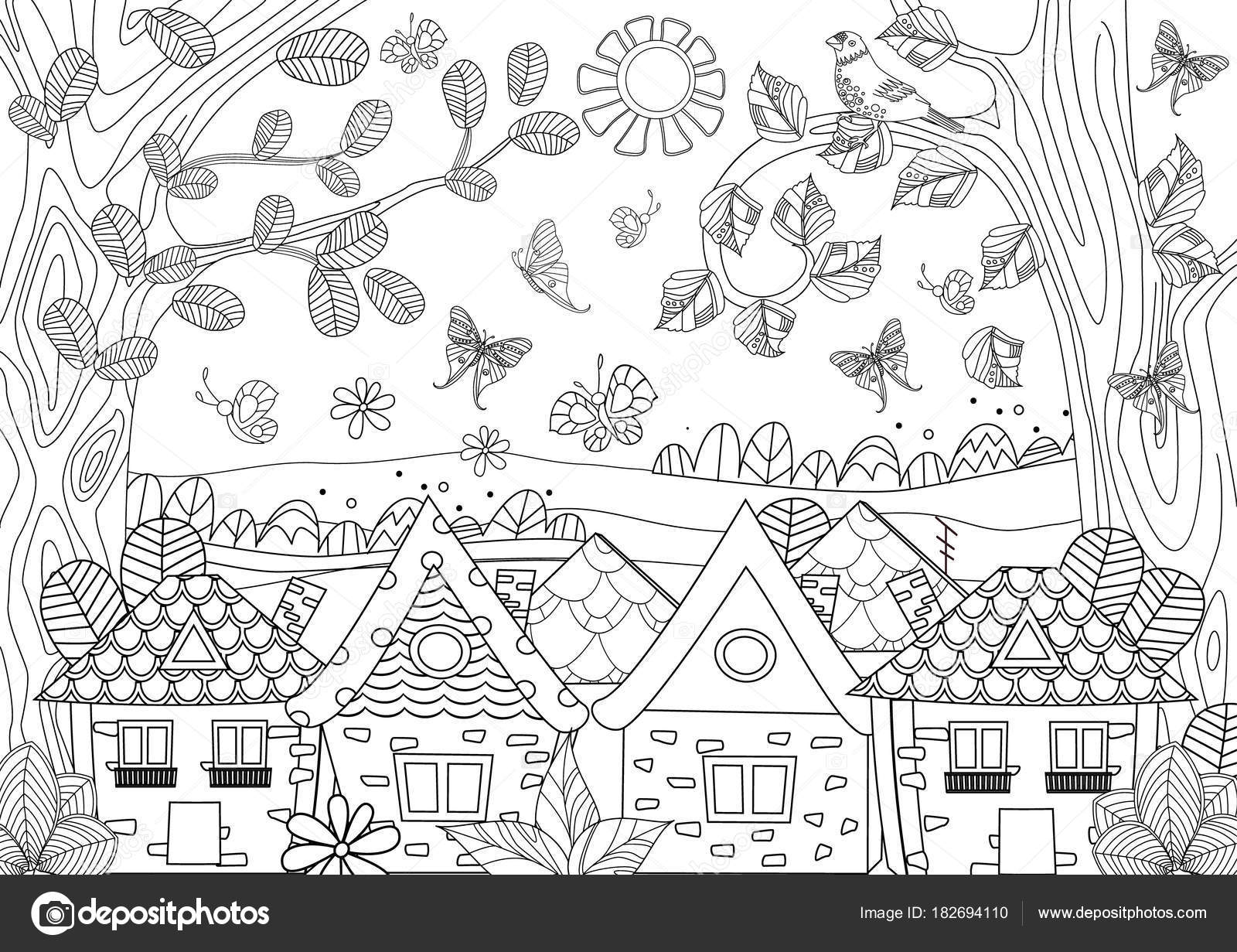 Nature Landscape Cozy Houses Your Coloring Book Vector