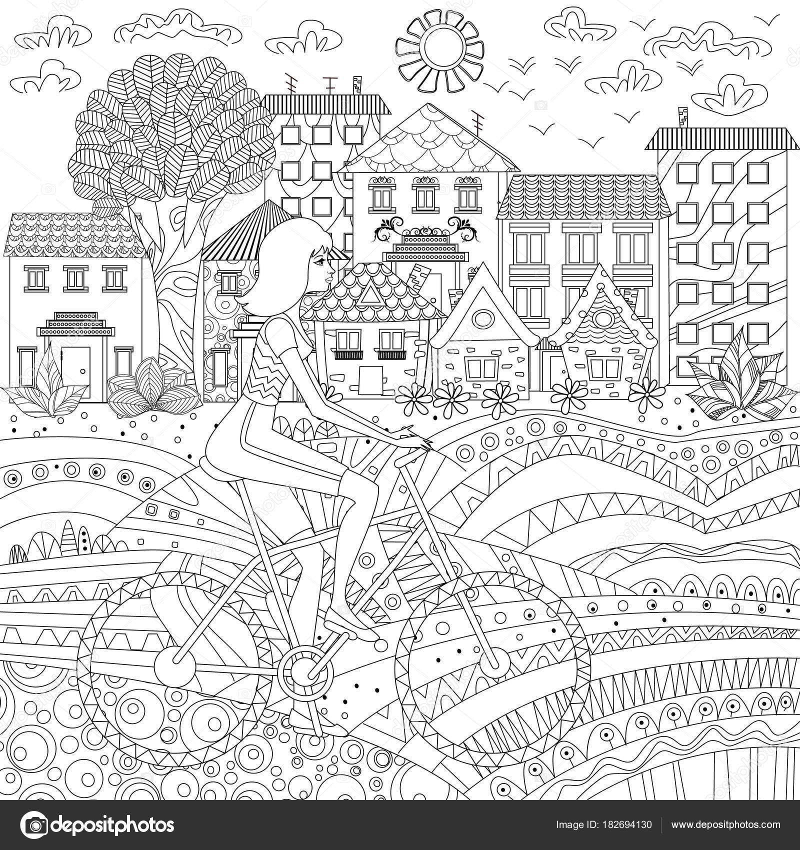 Sporty Girl Bike City Coloring Book Vector Illustration Stock