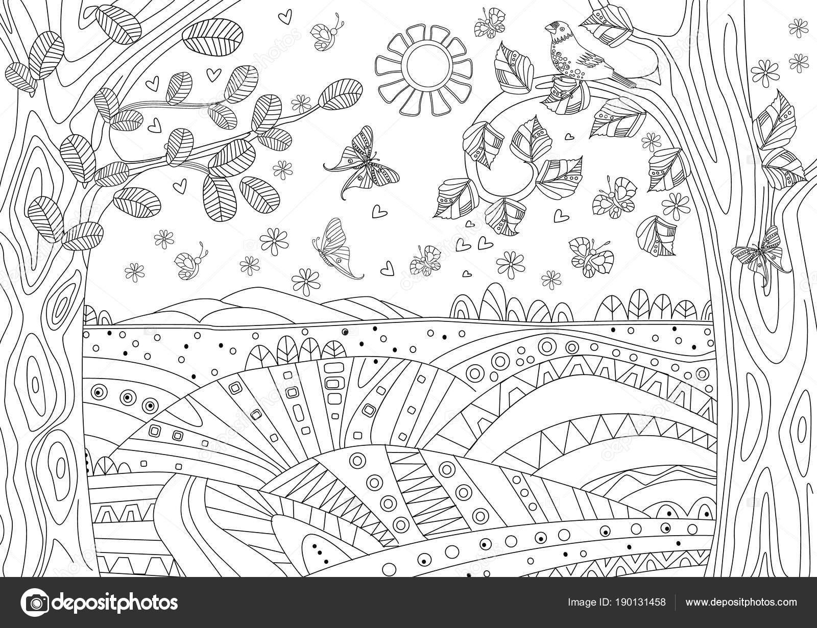 Paisaje Fantasía Con Mariposas Para Colorear Libro — Archivo ...