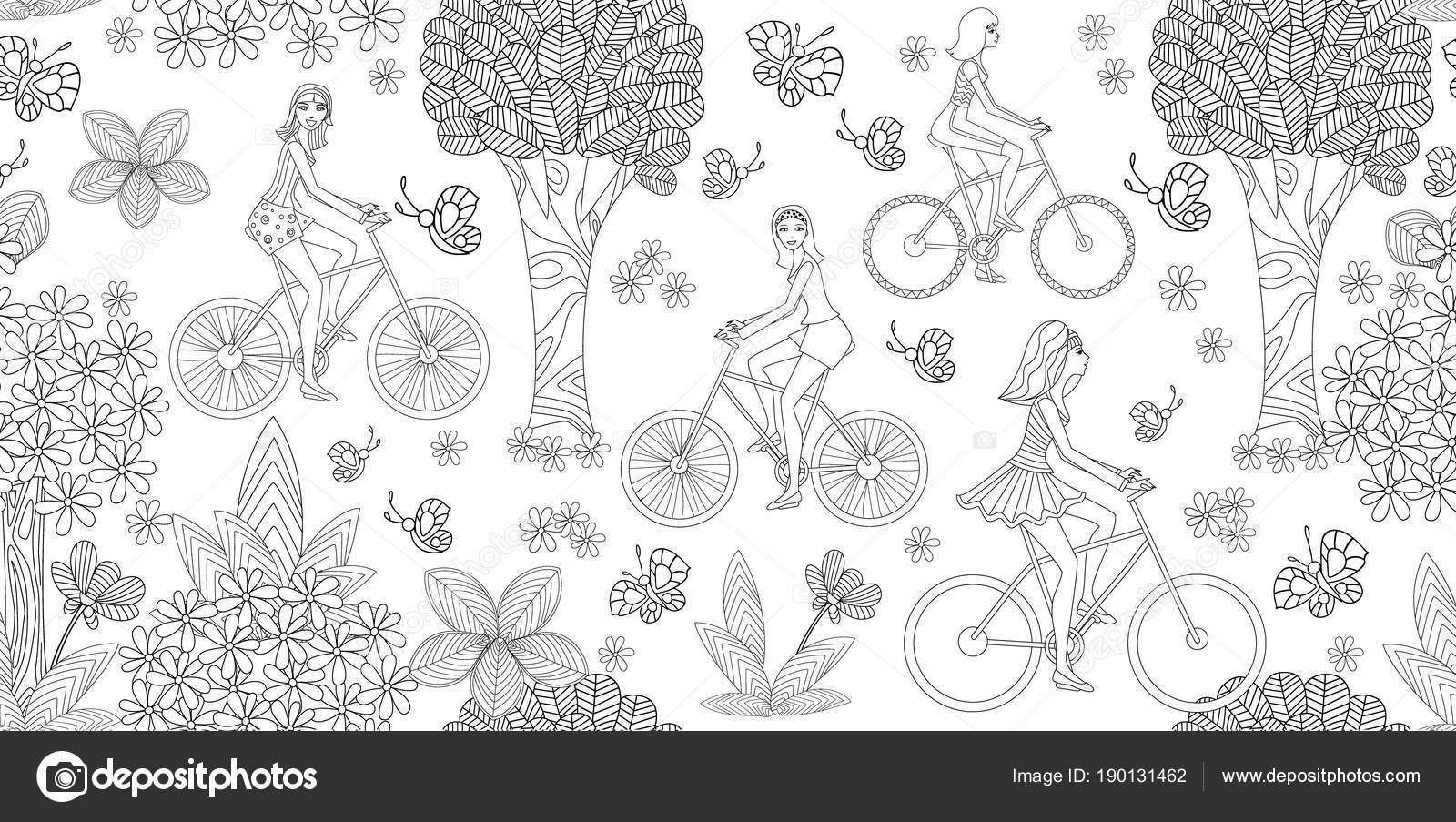 Textura Transparente Con Hermosas Chicas Montar Bicicletas Para ...
