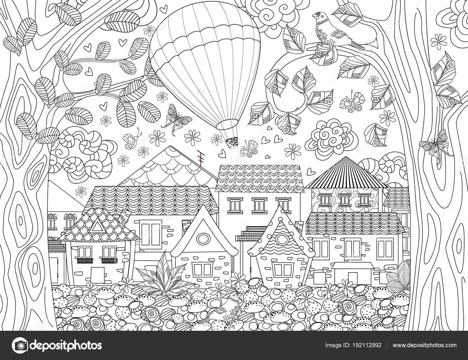 Diseño Ilustración Del Vector Del Paisaje Rústico Con Globo Aire ...