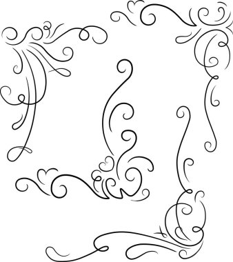 Set of ornamental decorative floral corners
