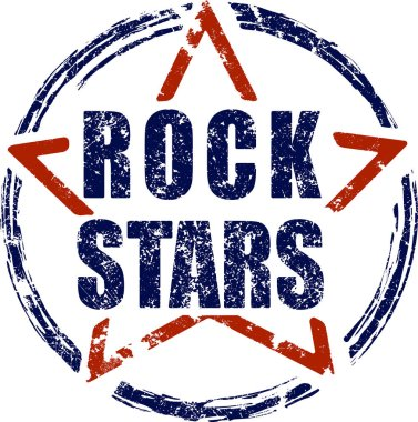 Rock stars blue and red rubber stamp