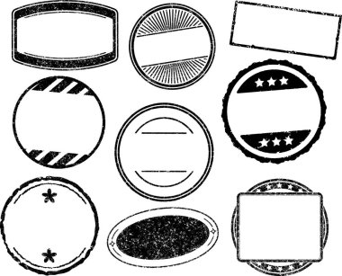 Set of nine grunge vector templates for rubber stamps clip art vector