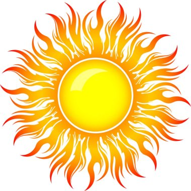 Decorative  bright colorful sun symbol